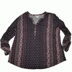 Style Co Mixed-Print Peasant Top Folk Raspberry XL